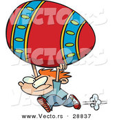 Vector of a Happy Cartoon Boy Running with a Giant Painted Easter Egg by Toonaday