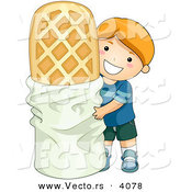 Vector of a Happy Cartoon Boy Standing Beside a Giant Waffle Cookie Dessert by BNP Design Studio