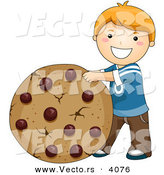 Vector of a Happy Cartoon Boy Standing Beside Giant Chocolate Chip Cookie by BNP Design Studio