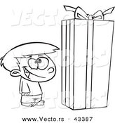 Vector of a Happy Cartoon Boy Standing by a Large Christmas Gift Box - Coloring Page Outline by Toonaday
