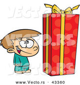 Vector of a Happy Cartoon Boy Standing by a Large Wrapped Present by Ron Leishman