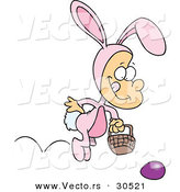 Vector of a Happy Cartoon Boy Wearing Easter Bunny Costume, Hopping Towards a Painted Egg on the Ground by Toonaday