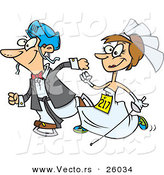 Vector of a Happy Cartoon Bride and Groom Running in a Race by Toonaday