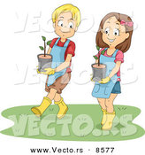 Vector of a Happy Cartoon Brother and Sister Carrying Potted Garden Plants by BNP Design Studio