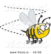 Vector of a Happy Cartoon Bumblebee Buzzing Around with a Big Goofy Smile by Ron Leishman