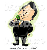 Vector of a Happy Cartoon Businessman Holding a Lucky Shamrock to His Face by BNP Design Studio