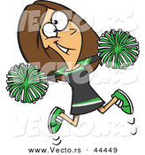 Vector of a Happy Cartoon Cheerleader Jumping with Pom Poms by Toonaday
