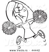 Vector of a Happy Cartoon Cheerleader Jumping with Pom Poms - Coloring Page Outline by Toonaday