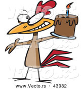 Vector of a Happy Cartoon Chicken Holding a Chocolate Birthday Cake Lit with 1 Candle by Toonaday