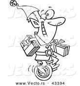 Vector of a Happy Cartoon Christmas Elf Carrying Gifts on a Unicycle - Coloring Page Outline by Toonaday