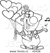 Vector of a Happy Cartoon Clown Singing and Holding Valentines Day Balloons - Coloring Page Outline by Ron Leishman