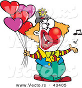 Vector of a Happy Cartoon Clown Singing and Holding Valentines Day Love Heart Balloons by Toonaday