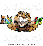Vector of a Happy Cartoon Cougar Character with Crayons, Paintbrushes, and Pencils by Chromaco