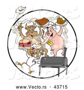 Vector of a Happy Cartoon Cow, Pig and Chicken Celebrating with a BBQ, Eating Bbq Ribs, Burgers and Chicken by LaffToon
