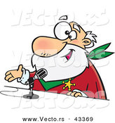 Vector of a Happy Cartoon CRS Santa Talking into a Microphone by Toonaday