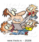 Vector of a Happy Cartoon Dad Playing with Three Sons by Toonaday