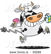 Vector of a Happy Cartoon Dairy Cow Running and Jumping with Ice Cream and a Carton of Milk by Toonaday