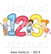 "Vector of a Happy Cartoon Diverse School Children Standing Beside Giant ""123"" Numbers by BNP Design Studio"