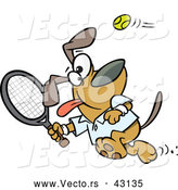 Vector of a Happy Cartoon Dog Swinging a Tennis Racket at the Ball by Toonaday