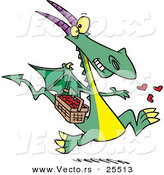 Vector of a Happy Cartoon Dragon Spreading Love Hearts from a Basket While Running by Toonaday
