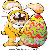 Vector of a Happy Cartoon Easter Bunny Hugging a Painted Egg by Zooco