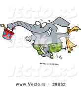 Vector of a Happy Cartoon Elephant Running to the Beach with a Bucket and Towel by Toonaday