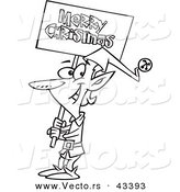 Vector of a Happy Cartoon Elf Carrying a Merry Christmas Sign - Coloring Page Outline by Toonaday