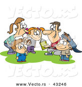Vector of a Happy Cartoon Family Huddling During a Football Game by Toonaday