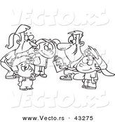 Vector of a Happy Cartoon Family Huddling Together While Going over a Football Play Book - Coloring Page Outline by Ron Leishman