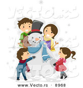 Vector of a Happy Cartoon Family Making a Snowman Together by BNP Design Studio