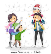 Vector of a Happy Cartoon Family Playing in the Winter Snow by BNP Design Studio