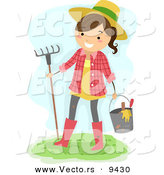 Vector of a Happy Cartoon Farmer Girl with Bucket of Garden Tools and a Rake by BNP Design Studio