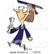 Vector of a Happy Cartoon Female College Graduate Walking by Toonaday