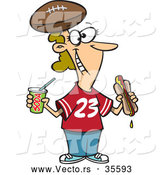 Vector of a Happy Cartoon Female Football Fan with Hot Dog, Soda, and Football Hat by Toonaday