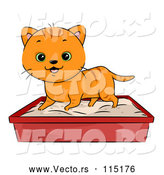 Vector of a Happy Cartoon Ginger Tabby Cat Using a Litter Box by BNP Design Studio