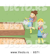 Vector of a Happy Cartoon Girl and Boy Watering Plants in Raised Garden Beds by BNP Design Studio