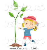Vector of a Happy Cartoon Girl Beside a Sprouting Garden Plant by BNP Design Studio