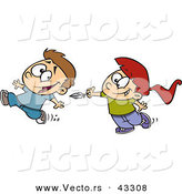 Vector of a Happy Cartoon Girl Chasing Boy and Trying to Tickle Him with a Feather by Toonaday