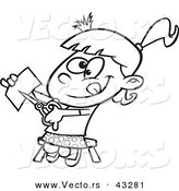 Vector of a Happy Cartoon Girl Cutting Paper with Scissors - Coloring Page Outline by Ron Leishman