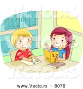 Vector of a Happy Cartoon Girl Helping a Boy with Math by BNP Design Studio