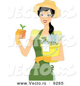 Vector of a Happy Cartoon Girl Holding a Potted Garden Plant and Gardening Supplies by BNP Design Studio