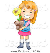 Vector of a Happy Cartoon Girl Holding a Potted Yellow Flower by BNP Design Studio