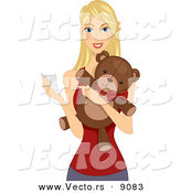 Vector of a Happy Cartoon Girl Holding a Valentine's Card and Teddy Bear by BNP Design Studio
