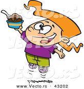 Vector of a Happy Cartoon Girl Jumping with an Ice Cream Sundae by Ron Leishman