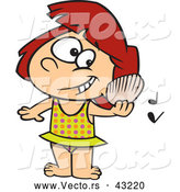 Vector of a Happy Cartoon Girl Listening to a Shell with Music Notes on a Beach by Toonaday