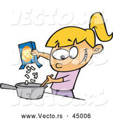 Vector of a Happy Cartoon Girl Making Macaroni and Cheese Meal by Toonaday