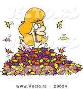 Vector of a Happy Cartoon Girl Playing in Autumn Leaves by Toonaday
