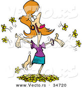 Vector of a Happy Cartoon Girl Playing in Yellow Spring Flowers by Ron Leishman