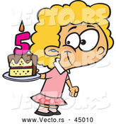 Vector of a Happy Cartoon Girl Posing with Her Fifth Birthday Cake by Toonaday