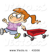Vector of a Happy Cartoon Girl Pulling a Red Wagon by Toonaday